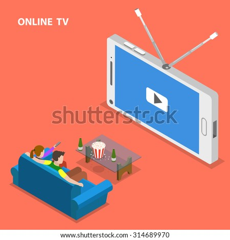 Online TV isometric flat vector illustration. Boy and girl sit on the sofa and watch TV set that looks like mobile phone. - stock vector