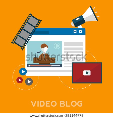 Online video blog design concept set with blogger media flat icons isolated, vector illustration - stock vector