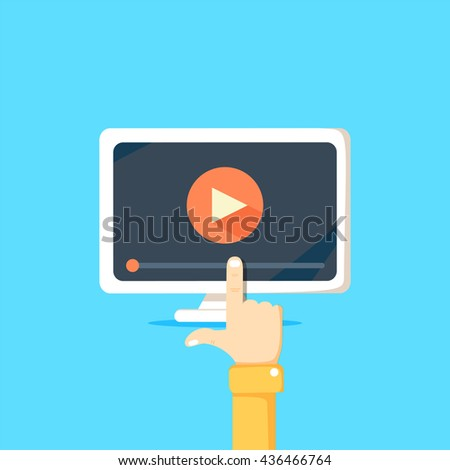 Online video concept. Internet video illustration. Distance training videos. Online learning design. Video conference and webinar image. Study using video online. Streaming video. Online video icon. - stock vector