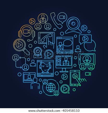 Online video conference illustration. Round online meeting vector symbol. Bright webinar sign - stock vector