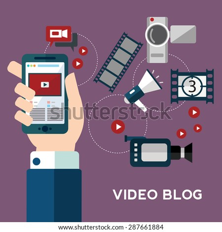 Online video design concept set with blogger media flat icons isolated isolated vector illustration - stock vector