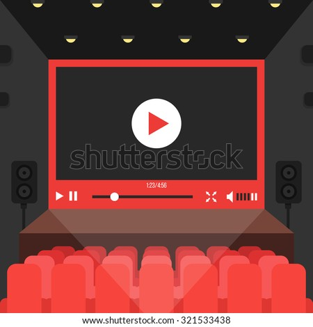 online video in cinema theater. concept of public auditorium presentation, entertainment, relaxing, conference, internet multimedia, projection. flat style trend modern design vector illustration - stock vector