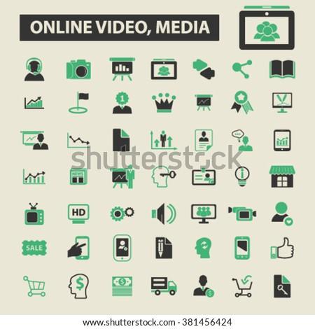 online video, media icons, online video, media logo, online video, media vector, online video, media flat illustration concept, online video, media infographics, online video, media symbols,   - stock vector