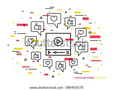Online video player line vector illustration. Like, heart, dialog box, media technology creative concept. Internet web video graphic design. - stock vector