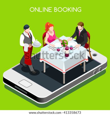 Online Web Book Dining Table Dinner Stock Vector Royalty Free - Book table for dinner
