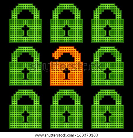 Online web security concept, represented in 8-bit pixel-art padlock icons