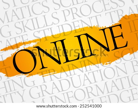 ONLINE word cloud, education business concept - stock vector