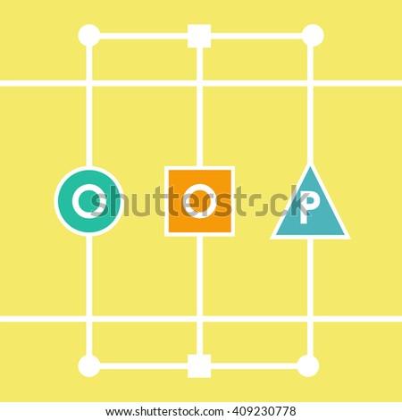 Oop object oriented programming. Vector illustration acronym for object-oriented programming - stock vector