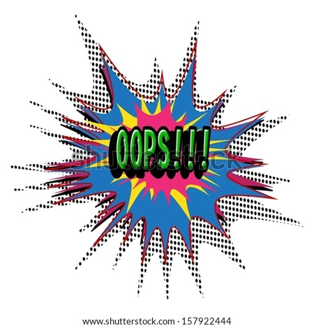 OOPS Comic book explosion vector illustration background