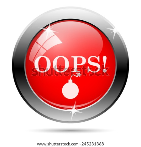 Oops icon. Internet button on white background.  - stock vector