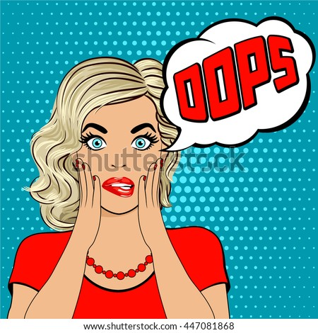 Oops. Surprised young blonde woman in pop art style. Human emotions face expression feelings. Vector illustration nervous woman with red lips. shocked woman with speech bubble oops. - stock vector
