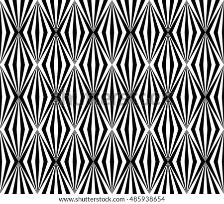 Op art background, abstract geometric pattern in black and white, vector illustration