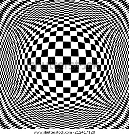 Op Art design pattern, black and white, concept for hypnosis, unconscious, chaos, extra sensory perception, psychic, stress, strain, optical illusion. EPS8 compatible. - stock vector