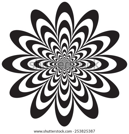 Op Art Flower optical illusion design in black and white. Colors are grouped for easy editing.