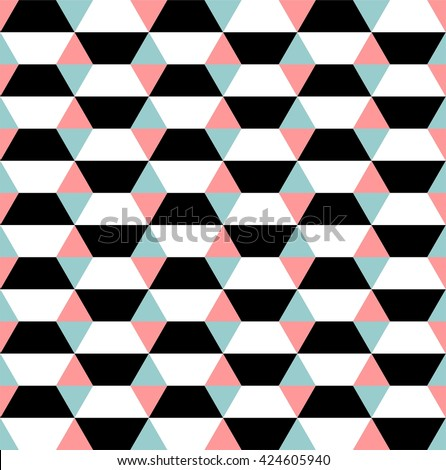 Op art seamless geometric pattern with black and white hexagons - stock vector