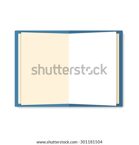 Open a blank white notebook isolated on white background. Flat mockups for website design, infographics, web and mobile services and apps. - stock vector