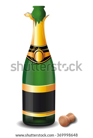 Open a bottle of champagne with the cork. Bottle of champagne isolated on a white background. Vector illustration. - stock vector
