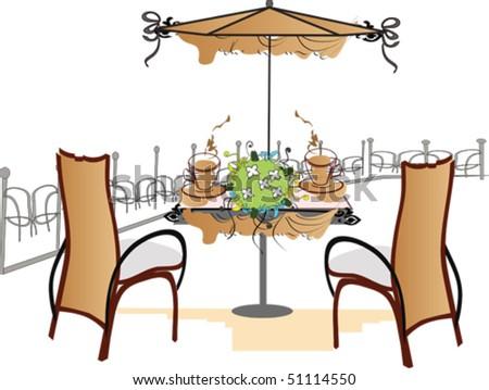 Open-air cafe - stock vector