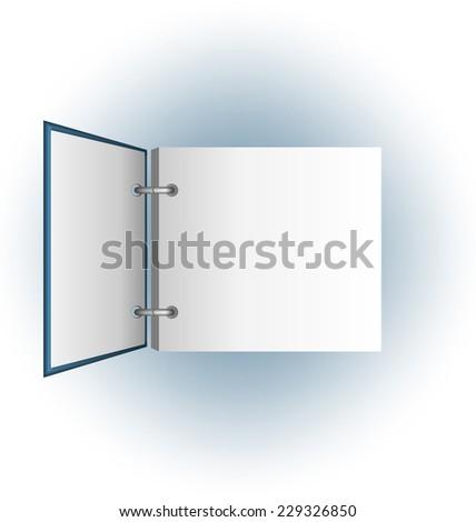 Open album on blue background - stock vector