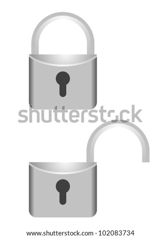 Open and close lock - stock vector
