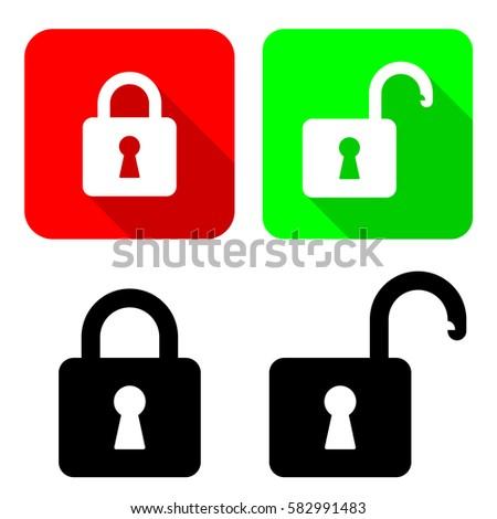 open close padlocks vector illustration open stock vector hd rh shutterstock com padlock vector icon free download padlock vector png