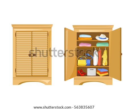 Open And Close Wardrobe With Clothes Vector Illustration