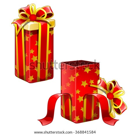 Open and closed box with gifts. Vector.