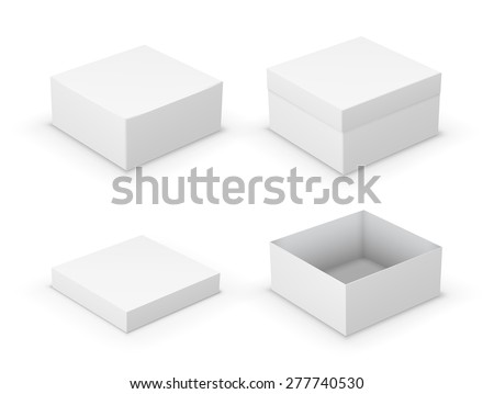 Open and closed boxes design collection. White objects on white background, vector illustration - stock vector