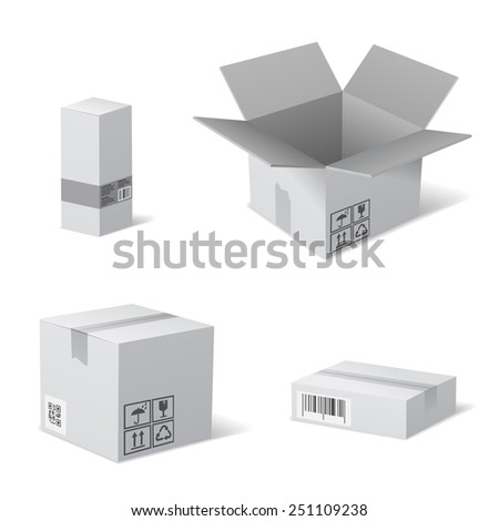 Open and Closed Cardboard Packaging Boxes with Recycling Icons. Vector isolated on white. - stock vector