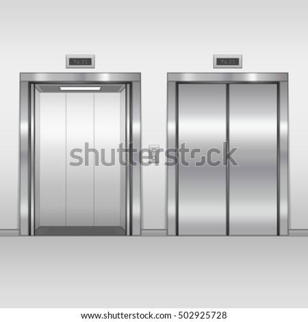 elevator doors. open and closed chrome metal building elevator doors. realistic vector illustration. hall interior in doors