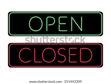 Open and Closed door neon Sign. Print with light symbol for store shop