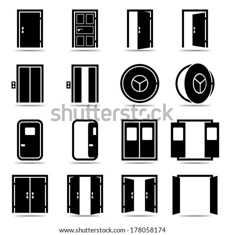 Open Door Icon Vector Open And Closed Doors Icons