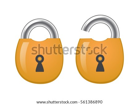 Open and closed lock icon. Security symbol lock, password