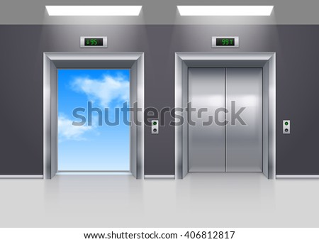 Open and Closed Metal Elevator Doors to the Blue Sky