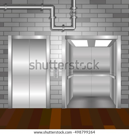 Open and closed metal  elevator doors with pipeline. Elevator hall interior with brick wall and wooden floor background.  Model industrial interior 3d. Vector illustration.