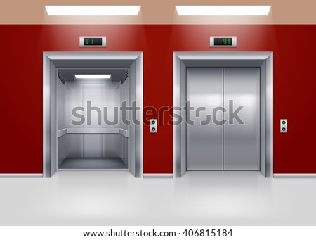 Open and Closed Modern Metal Elevator Doors. Hall Interior in Red Colors - stock vector