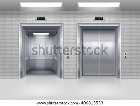 Open and Closed Modern Metal Elevator Doors in a Brick Wall
