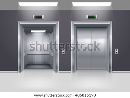 Open and Closed Modern Metal Elevator Doors on Floor