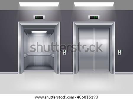 Open and Closed Modern Metal Elevator Doors on Floor - stock vector
