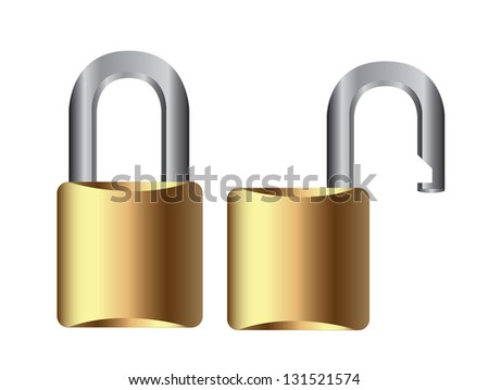 open and closed padlock over white background - stock vector