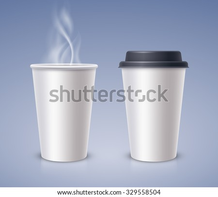 Open and closed paper cups with hot drink - stock vector