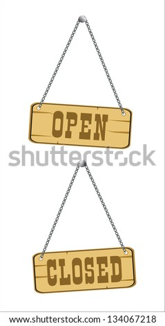 open and closed signs isolated over white - stock vector