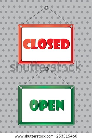 Open and closed symbol - stock vector