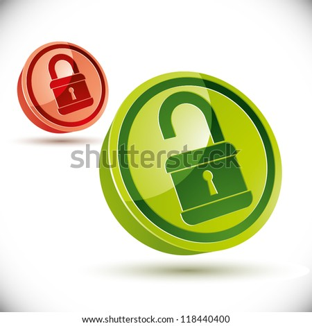 Open and closed versions of 3d vector lock icon. - stock vector