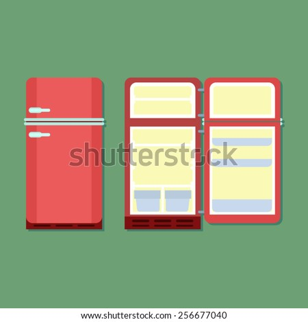 open and closed vintage red refrigerator - stock vector