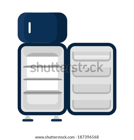 Open and empty refrigerator. Blue refrigerator, open and empty. Isolated on a white background. - stock vector