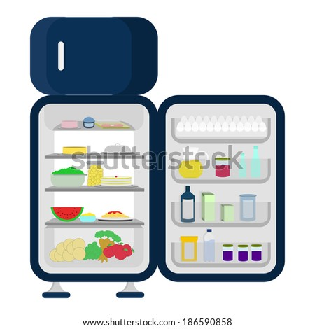 Open and full fridge of food like carrots, apples, lettuce, watermelon, cheesecake, juice. Isolated on a white background. - stock vector