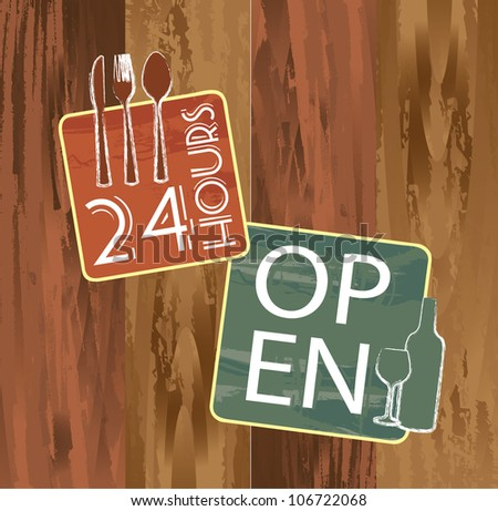 open and 24 hours signs over wooden texture. vector