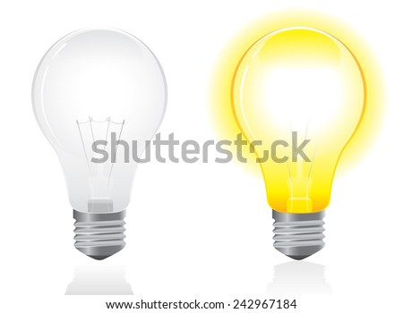 Open and turned off light bulb vector on White background - stock vector