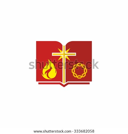 Open Bible, red, yellow, crown of thorns, cross, icon, flame, Bible - stock vector
